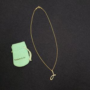 """Tiffany Elsa Peretti Initial Necklace """"J"""" 18K Gold"""